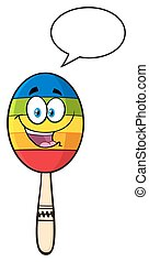 Mexican Maracas With Speech Bubble - Happy Colorful Mexican...
