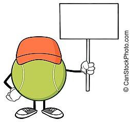 Tennis Ball Holding A Blank Sign - Tennis Ball Faceless...