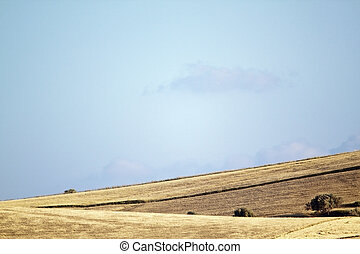 Reaped hills - View of reaped hills in Sicily