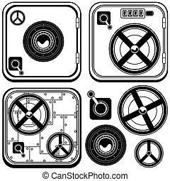 safe door icons mono color - Vector black illustration of...