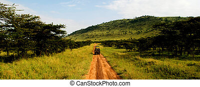 Dirt road - A jeep traveling on a dirt road in africa