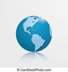 High detailed globe with North and South America. Vector illustration.
