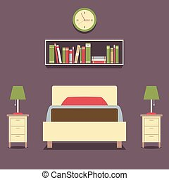 Single Bed With Lamps Vector.