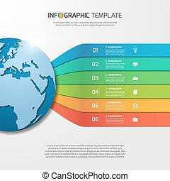 Infographic template with globe for graphs, charts,...