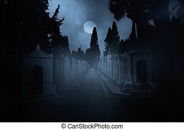 Cemetery street at night - Street of an old european...