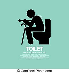 Elderly With Walking Stick Toilet - Elderly With Walking...
