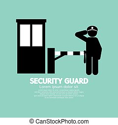 Security Guard Symbol. - Security Guard With Closed Barrier...