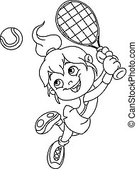 Outlined tennis girl - Outlined young girl playing tennis....