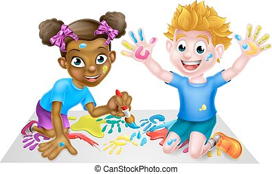 Creative Play - Cartoon boy and girl playing with paint