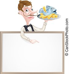 Fish and Chips Restaurant Menu Signboard - An Illustration...
