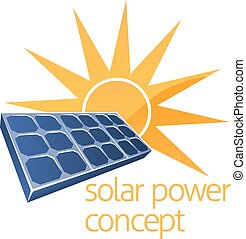 Solar Power Concept - A concept icon of sun and solar panel...