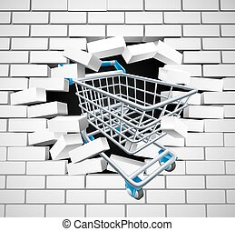 Shopping Cart Trolley Concept - Shopping cart trolley...