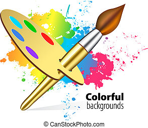 Vector brush on color background