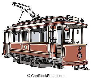 Classic red tramway - Hand drawing of a classic red tramway