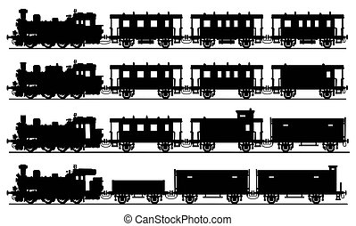 Old steam trains - Hand drawn black silhouettes of four...