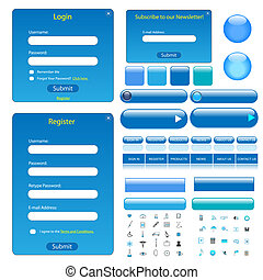 Blue Web Template - Colorful blue web template with...