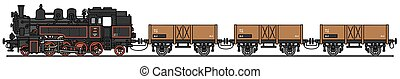 Vintage steam cargo train - Hand drawing of a vintage steam...