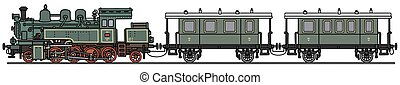 Vintage green steam train - Hand drawing of a vintage green...
