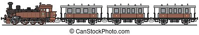 Old red steam train - Hand drawing of a classic red steam...