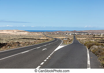 Straight road on Fuerteventura. Canary Islands, Spain