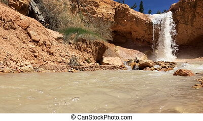 Waterfall Bryce Canyon Mossy Cave trail steady shot