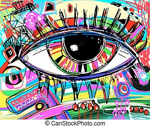 digital painting of human eye, colorful composition in...