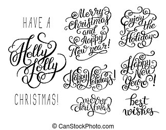 hand lettering christmas phrase design - set of black and...