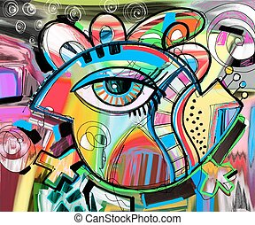 original abstraction composition of doodle bird, digital...