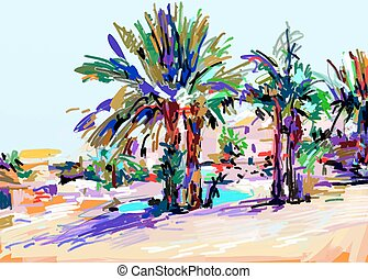 original digital painting of Cyprus colorful landscape with...