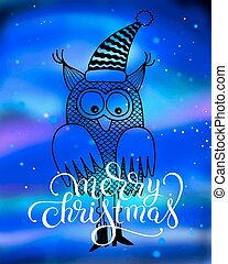 merry christmas hand lettering inscription with owl on...