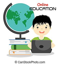 boy with computer studying online