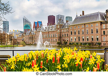 Parliament and court building complex Binnenhof in Hague,...