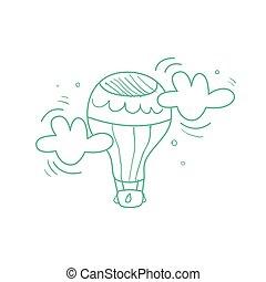 Hot Air Balloon Midair - Hot Air Balloon Mid-air Hand Drawn...
