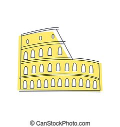 Coliseum Building In Rome Light Color Flat Cute Illustration...