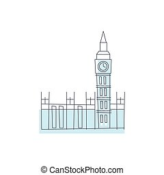 Westminster Abbey Building In London Light Color Flat Cute...