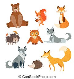 Forest Animals Set Of Stylized Cute Childish Flat Vector...