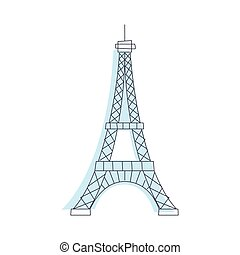Eifel Tower Monument In Paris Light Color Flat Cute...
