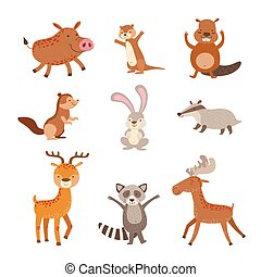 Forest Animals Collection Of Stylized Cute Childish Flat...