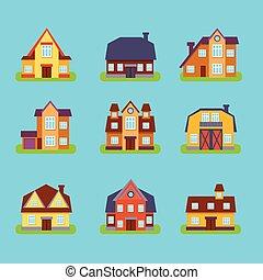 Suburban Real Estate Houses Set