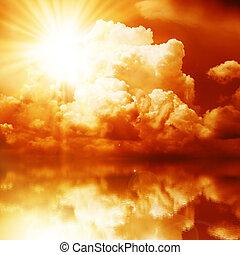 Red Sunbeam in the Dark Clouds - Red Sunbeam over the sea,...