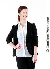 Smiling business woman, isolated on white background