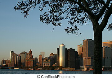 Lower Manhattan Skyline At Sunset - Lower Manhattan New York...