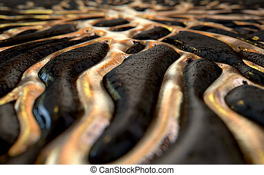 Molten Gold Seeping Out Of Rock - A 3D render of an abstract...