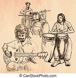 Music band - An hand drawn vector - An hand drawn vector -...