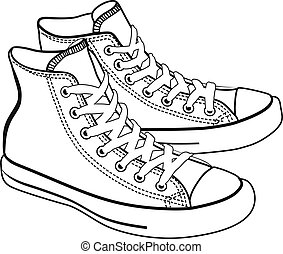 vector isolated cartoon sneakers lineart