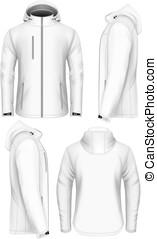 Men hooded softshell jacket design template - Men softshell...
