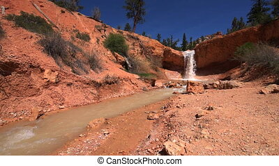 Waterfall Bryce Canyon Mossy Cave trail slow camera dolly...