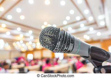 Old Black microphone in conference room . - Old Black...