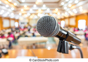Black microphone in conference room . - Black microphone in...