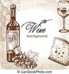 wine and snacks - hand drawn sketch of wine and snacks on an...